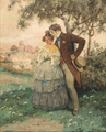 Rudolf Alfred Höger - Kærestepar under træet. I baggrunden byen Dürnstein.png
