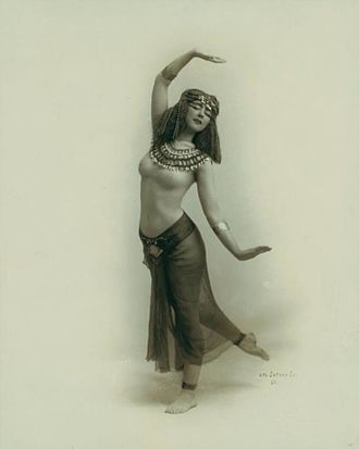 "Ruth St. Denis - Photographed by Otto Sarony, 1910. St. Denis began to investigate Asian dance after seeing an image of the Egyptian goddess Isis in a cigarette advertisement. She and her husband Ted Shawn were known for their ""oriental"" productions."