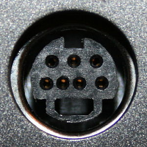 Mini-DIN connector - A non-standard 7-pin variant of a MiniDIN-4 connector.