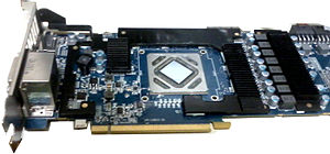 Video card - A Radeon HD 7970 with the heatsink removed, showing the major components of the card