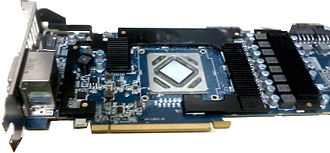 Video card - A Radeon HD 7970 with the main heatsink removed, showing the major components of the card