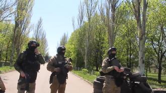 Battle of Kramatorsk - SBU agents blocking off an area in Kramatorsk on 25 April 2014