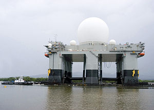 Sea-based X-band Radar - SBX departing Pearl Harbor, Hawaii on March 31, 2006