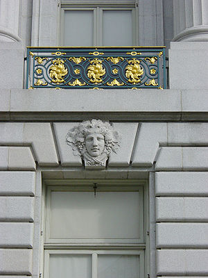 Beaux-Arts architecture - Alternating male and female mascarons decorate keystones on the San Francisco City Hall