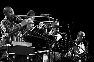 From left to right: Andre Hayward, Dave Douglas, Joe Lovano and Miguel Zenón at the North Sea Jazz Festival of 2007.