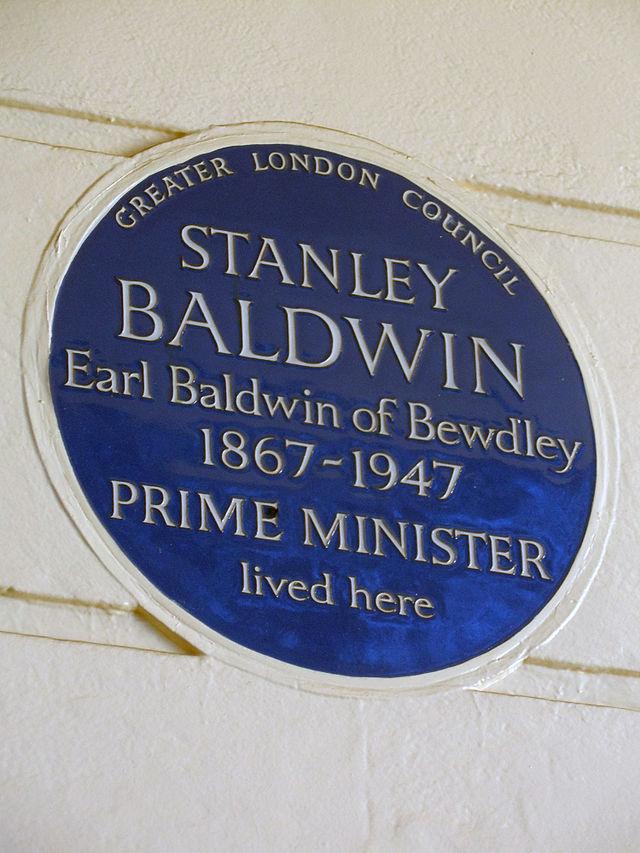 Stanley Baldwin blue plaque - Stanley Baldwin Earl Baldwin of Bewdley 1867-1947 Prime Minister lived here