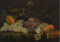 STILL LIFE WITH RED, BLACK AND GREEN GRAPES ON THE VINE.PNG