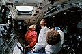 STS-31 Crew Monitors Hubble Space Telescope from Discovery's Flight Deck (28023937892).jpg