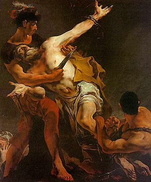 The Third of May 1808 - Giovanni Battista Tiepolo's 1722 St. Bartholomew is a traditional scene of martyrdom, with the saint beseeching God. Goya drew inspiration from the iconography of such violent scenes.