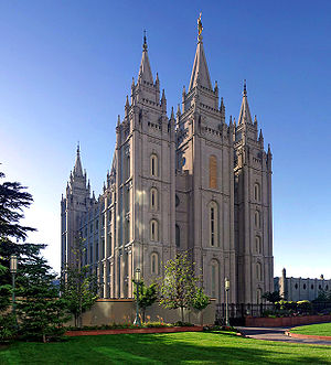 Salt Lake Mormon Temple in Salt Lake City, Utah, USA....