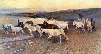 """Nikolay Samokish - """"Herd of Mares at the Watering Hole"""", the painting that earned him the rank of Academician."""