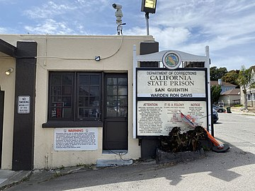 San Quentin's East Gate, the primary entrance for visitors and volunteers