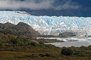 San Quintín Glacier - Main arm of San Quintin Glacier with its proglacial lake covering parts of Isthmus of Ofqui