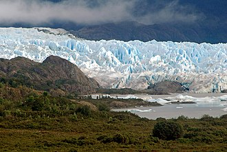 San Quintín Glacier - Main arm of San Quintin Glacier with its proglacial lake covering parts of Isthmus of Ofqui