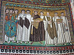 San vitale, ravenna, int., presbiterio, mosaici di giustiniano e la sua corte 02.jpg