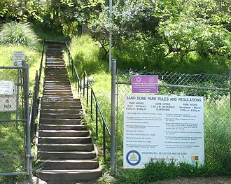 Sand Dune Park - The stairs and warning sign at Sand Dune Park, Manhattan Beach, California