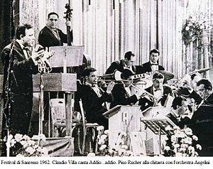 Claudio Villa - The 1962 San Remo Music Festival - Claudio Villa is singing Addio...addio. In the lower right corner: orchestra conductor Cinico Angelini. At the top centre: Pino Rucher at the guitar and Pierino Munari at the drums.