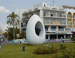 Egg of Columbus - Monument to the discovery of America by Columbus in the shape of an egg in Sant Antoni de Portmany, Ibiza, Spain