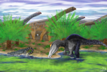 Restoration of Siamosaurus to the right wading in shallow water, with a herd of large sauropod dinosaurs in the background and a small crocodyliform in the middle left