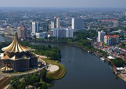 Aerial view of Kuching looking south east.