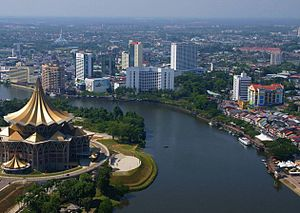 Sarawak River - The Sarawak River flowing through Kuching city centre.