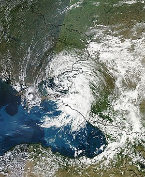 2012 Krasnodar Krai floods - Satellite image of Russia's Krasnodar region along the northeast coast of the Black Sea, taken at 09:30 UTC Friday, 6 July 2012.