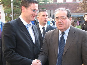 Antonin Scalia - Scalia (right) at the Harvard Law School on November 30, 2006