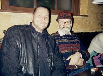 Lucio Fulci - German gore director Andreas Schnaas (left) and the late Lucio Fulci (right) at the 1994 Eurofest, London, England