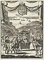 Schrijfster Marie-Catherine d'Aulnoy in een draagstoel begroet door vijf ruiters, RP-P-OB-44.572.jpg