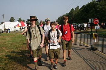 Boy Scouts walk to different events at the 200...