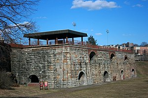 Scranton Iron Furnaces - Remains of the stone blast furnaces.