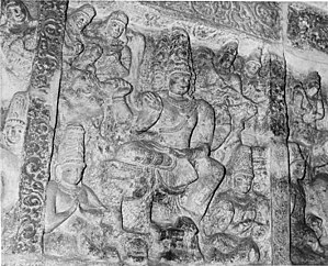 Tiru Parameswara Vinnagaram - Image: Sculptures on the panel depicting commemoration scenes of outstanding events in the reign of the Pallava kings, Tiru Parameswara Vinnagaram temple 1956 (cropped)