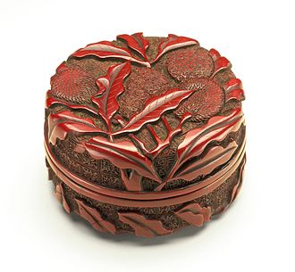 "A Ming dynasty red ""seal paste box"" in carved lacquer. Seal Paste Box (Yinnihe) with Litchi Stems LACMA M.87.205a-b (1 of 2).jpg"