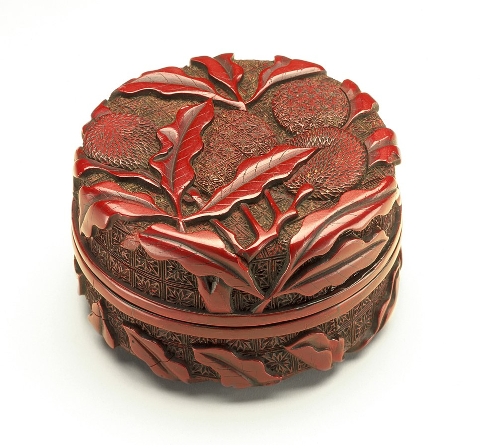 Seal Paste Box (Yinnihe) with Litchi Stems LACMA M.87.205a-b (1 of 2)