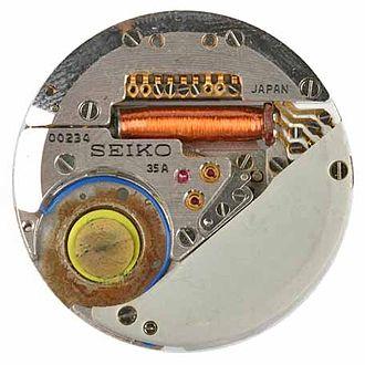 Quartz clock - First quartz wristwatch movement, used in the Seiko Astron, Caliber 35A, Nr. 00234, Seiko, Japan, 1969 (German Clock Museum, Inv. 2010-006)