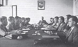 Provisional Government of Lithuania - Session of the Provisional Government of Lithuania under the chairmanship by Juozas Ambrazevičius in Kaunas, Lithuania, 1941