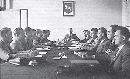 Session of the Provisional Government of Lithuania under the chairmanship by Juozas Ambrazevicius in Kaunas, Lithuania Session of the Provisional Government of Lithuania.jpg
