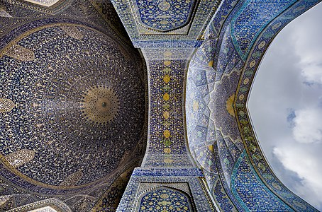 Interior view of the dome of the Shah Mosque, Isfahan, Iran