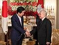 Shinzo Abe and King Norodom Sihamoni at the Enthronement of Naruhito.jpg
