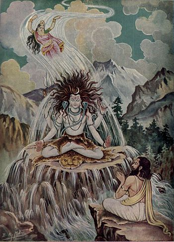 Shiva stops Ganga who is falling from the sky.jpg