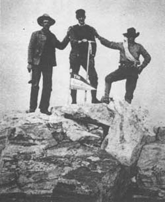 Grand Teton National Park - In this image taken by William O. Owen in 1898, his climbing partners John Shive, Franklin Spalding, and Frank Petersen are depicted on top of Grand Teton.