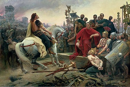 Vercingetorix surrenders to Caesar during the Battle of Alesia. The Gallic defeat in the Gallic Wars secured the Roman conquest of the country. Siege-alesia-vercingetorix-jules-cesar.jpg
