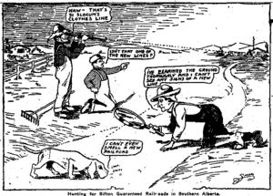 Alberta general election, 1913 - Calgary Herald cartoon satirizing Premier Arthur Sifton's promised railroads.