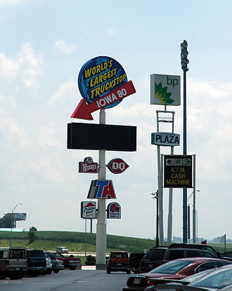 Truck stop - Signage for Iowa 80, the world's largest truck stop. It is located in Walcott, Iowa.