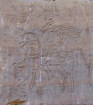 Nobatia - Graffito from a temple in Kalabsha (Talmis), depicting king Silko on horse back while being crowned by Nike.