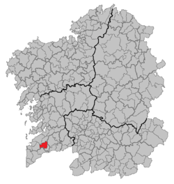 Location of the municipality of O Porriño within Galicia