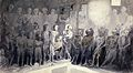 Skeletons (of Capuchin friars?) preserved in a crypt. Wash d Wellcome L0030353.jpg