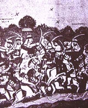 Battle of Bhuchar Mori - Sketch from the Yaduvanshprakash by Mavdanji Ratnu, 1934