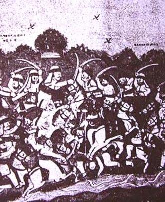 Battle of Bhuchar Mori - Sketch from the Yaduvanshprakash by Mavdanji Ratnu, 1934