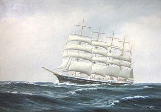 """København (ship) - Five-masted barque """"København"""" with ØK in her sail. Oil-painting by Peder Chr. Pedersen."""